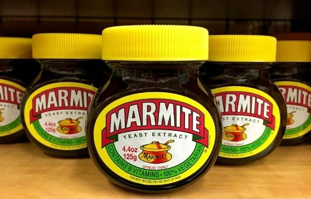 5 jars of marmite with the branding packaging | What is Marmite? | Have You Heard of Marmite? Find Out About This British Staple