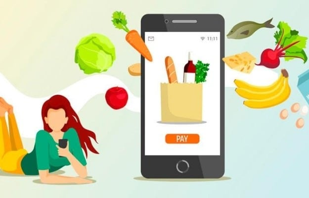 an illustration is about a woman using her phone with food in the background | Feature | Vegan Fast Food: Your Guide for Ordering Out