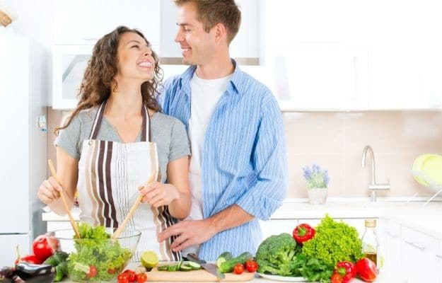 Man and Woman in their Kitchen at home Preparing Vegetable Salad | Boost Mood | Boost Mood