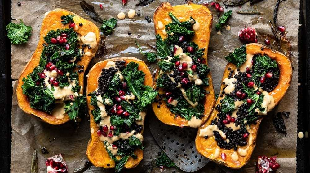 Roasted and Stuffed Butternut Squash-feature-us | Feature | Seasonal Vegan Foods For Fall