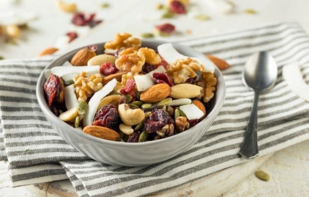 Healthy Homemade Superfood trail mix with nuts and fruit-ca | 9 Best Vegan Snacks You Won't Feel Guilty About Eating | Trail Mix