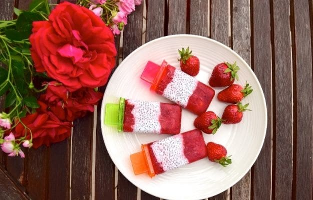 Strawberry chia coconut popsicles-ca   9 Best Vegan Snacks You Won't Feel Guilty About Eating   Strawberry Coconut Popsicles