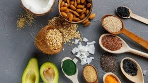 Healthy food clean eating on grey backgroud-feature-ss   Benefits Of A Keto Vegan Diet And What To Be Aware Of   feature